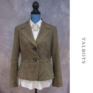 Talbots Italian Fabric Brown Wool Silk Blazer 12